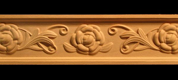 Frieze- Camellia Flower and Scroll Decorative Carved Wood Moulding
