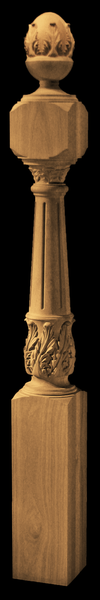 Image Newel Post - Acanthus with Fluting and Finial