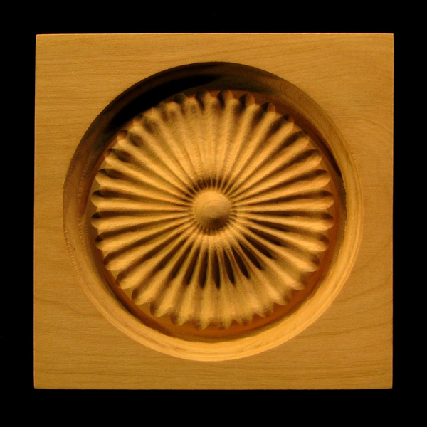 Block - Square Fan carved wood