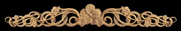 Onlay -Hibiscus and Rings Carved Wood