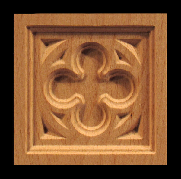 Block - Gothic Quatrefoil carved wood