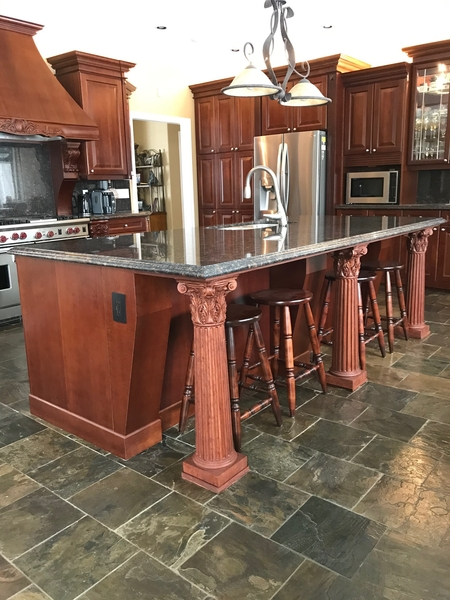 Image Kitchen Island with Corinthian Column Supports