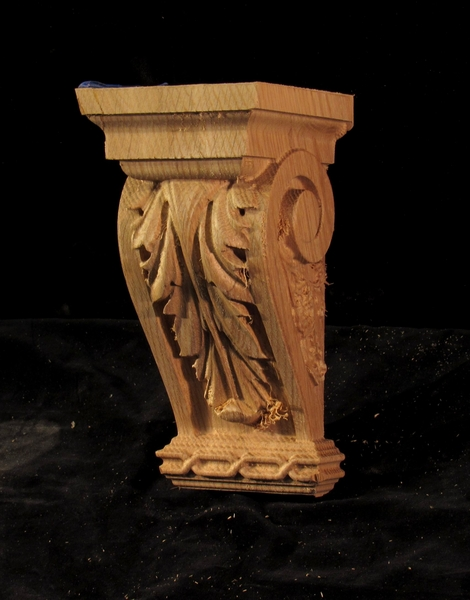 Image CLEARANCE - Large Acanthus Corbel - 4 x 4 x 8 - Red Oak