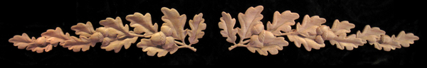 Image Onlay - Oak Boughs and Acorns - Left & Right Facing Pairs