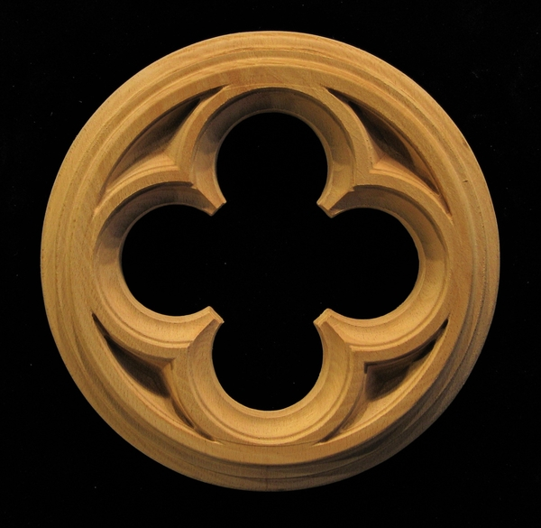 Rosette - Gothic Quatrefoil carved wood