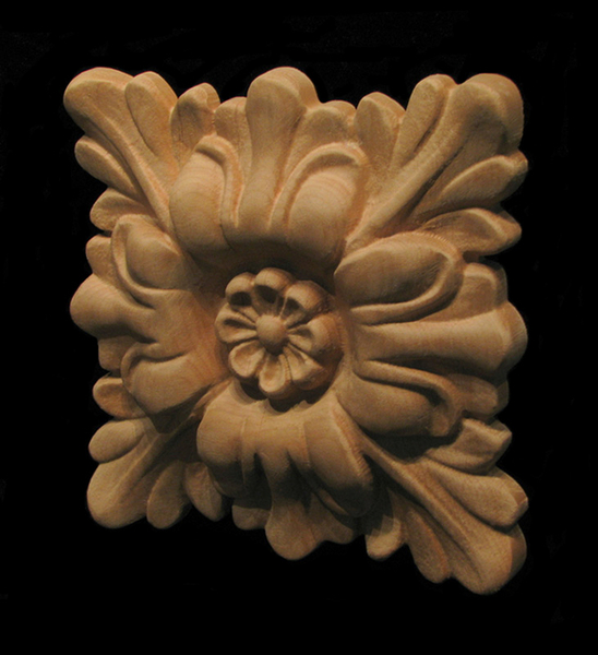Carved wood rosettes floral square
