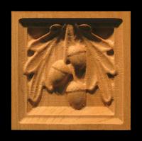 Image Corner Block - Oak Leaves & Acorn