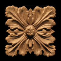 Carved Wood Onlay - Acanthus Four Leaves