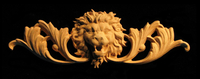 Image Onlay - Wide  - Roaring Lion Head w Scroll - Short