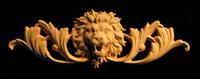 Image Onlay - Wide  - Roaring Lion Head w Scroll - Short