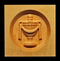 Image Corner Block - Urn, oval inset.