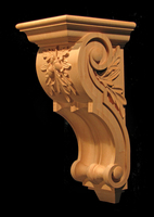 Image Corbel - Old World Oak Leaves - 7.5W x 18L x 9D