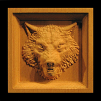 Image Corner Block - Wolf with Teeth