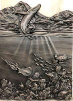 Image Carved Ocean Panel - Whale Breach, Coral, Turtle