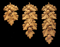 Image Onlay - Oak Leaves and Acorns Drop, Short, Med, Long