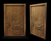 Image Elk and Mountains Carving Panel