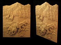 Image Wild Horses Carved Panel