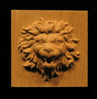 Wood Plaque - Roaring Lion Head